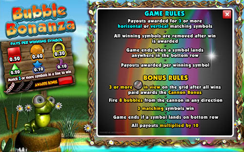Правила игрового автомата bubble bonanza